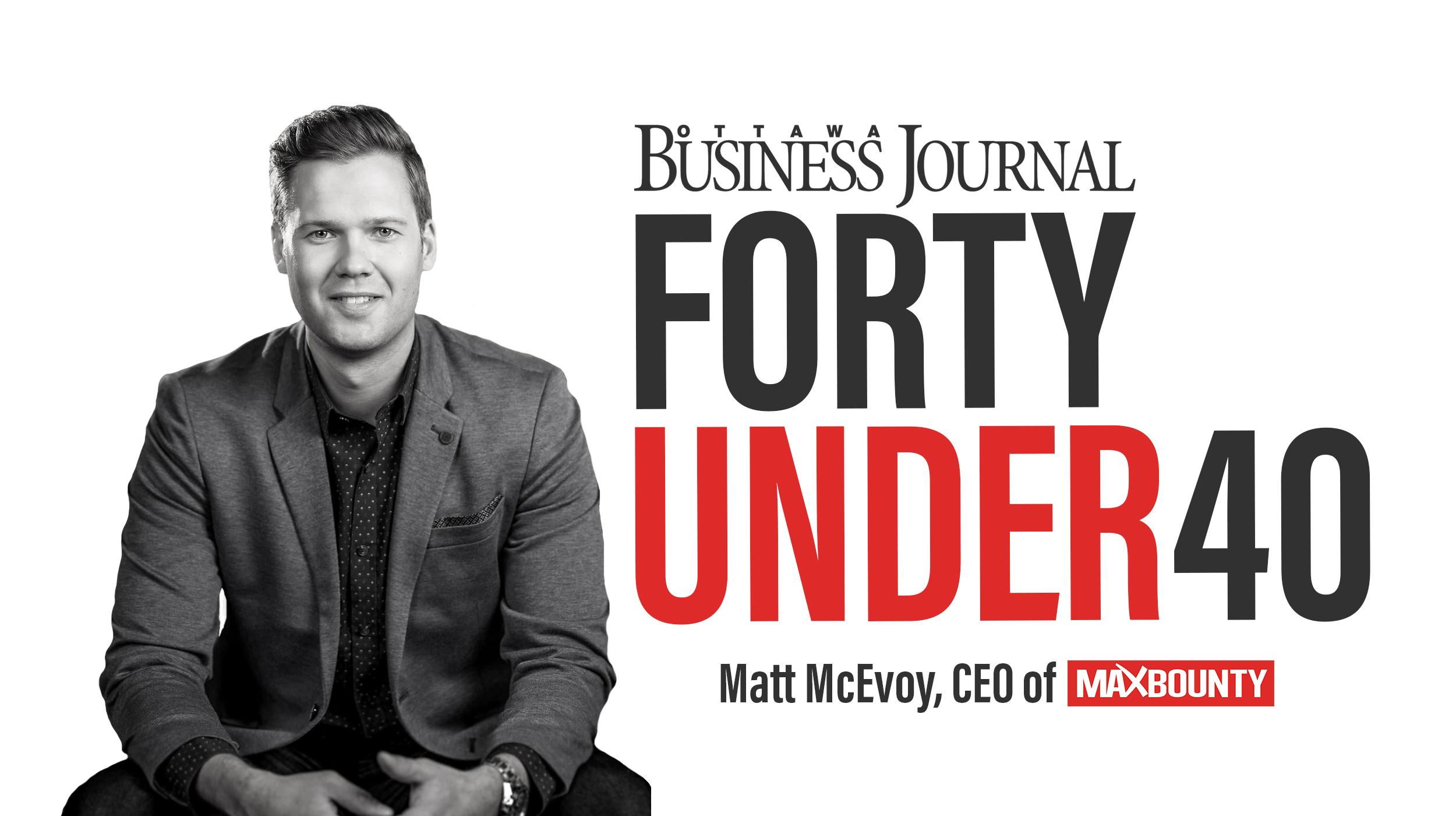 MaxBounty CEO Matt McEvoy Receives Forty Under 40 Award
